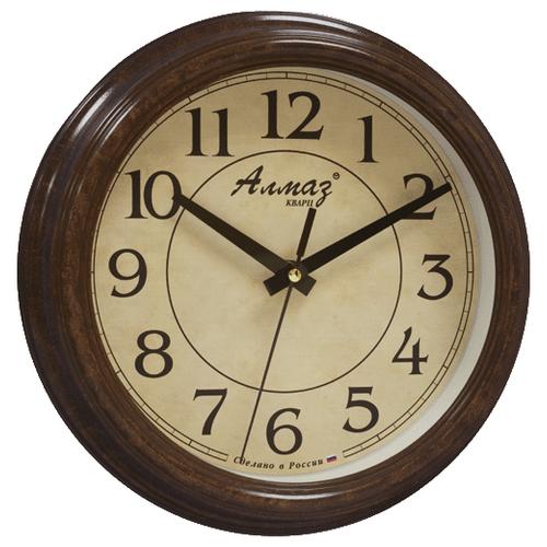 Часы настенные кварцевые Алмаз C15 коричневый/бежевый часы настенные кварцевые алмаз b04 бежевый