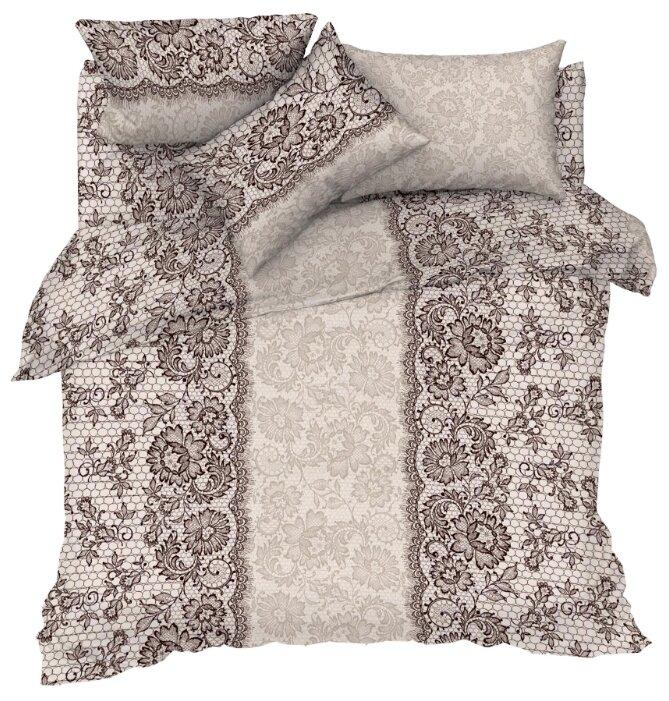 Постельное белье 1.5-спальное Текстильная лавка Кружево бязь бежевый/коричневый