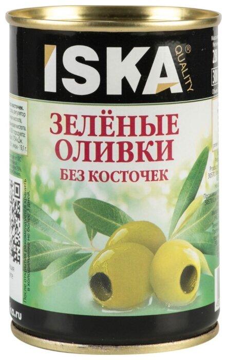 Iska Оливки зеленые без косточек, жестяная банка 300 мл