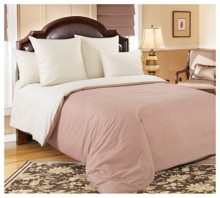 Постельное белье 2-спальное с евро простыней Текс-Дизайн Какао, перкаль