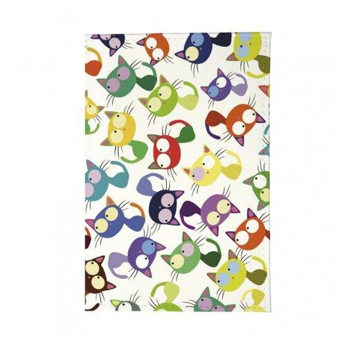 Обложка для паспорта Mitya Veselkov Цветные кошки - мешанина OK221, Принт обложка для паспорта кожаная mitya veselkov мишки на велике с шариками
