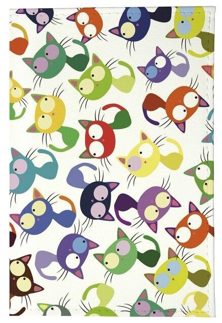 Обложка для паспорта Mitya Veselkov Цветные кошки - мешанина OZAM204