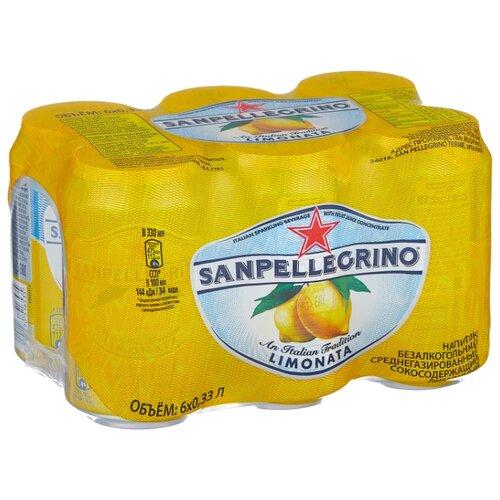 Газированный напиток Sanpellegrino Limonata Лимон, 0.33 л, 6 шт.
