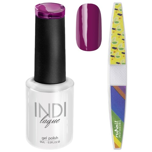 Набор для маникюра Runail пилка для ногтей и гель-лак INDI laque, оттенок 3706 набор для нейл арта пилка для ногтей runail professional гель лак indi laque тон 3708 9 мл