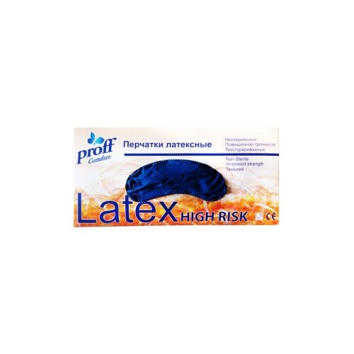 Перчатки Proff Comfort High Risk, 25 пар, размер M, цвет синийПерчатки<br>
