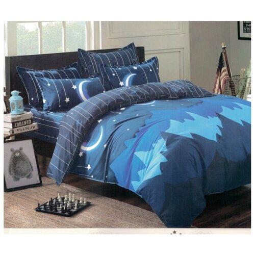 Постельное белье 2-спальное Boris AB-19-180/4 полисатин синийКомплекты<br>