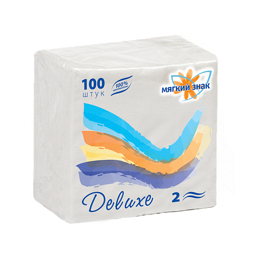 Салфетки Мягкий знак Deluxe 24 х 24 см, 100 шт.