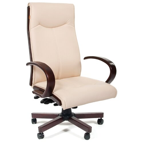 Компьютерное кресло Chairman 411 для руководителя, обивка: искусственная кожа, цвет: бежевый по цене 24 390