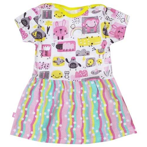 Платье KotMarKot Colour bunny размер 80, белый/желтый/розовый