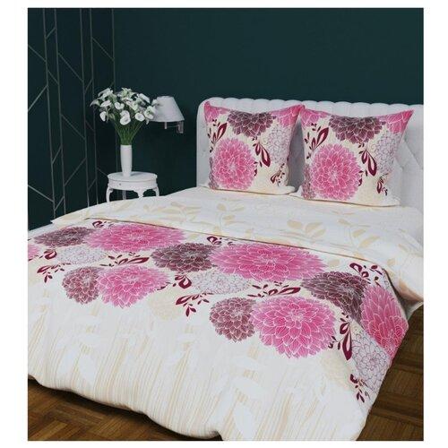 Постельное белье евростандарт Мирослава Георгины 70 x 70 бязь розовыйКомплекты<br>