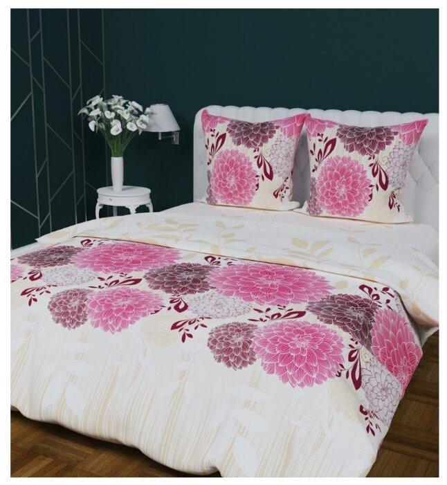 Постельное белье евростандарт Текстильная лавка Георгины 70 x 70 бязь розовый