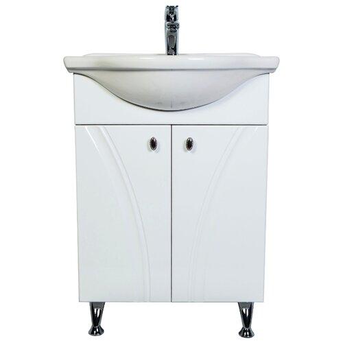 Тумба для ванной комнаты с раковиной Orange Лотос Lo-60RA, ШхГхВ: 60х46х84 см, цвет: белый