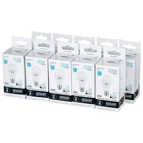 Упаковка светодиодных ламп 10 шт gauss 23229, E27, A60, 20Вт