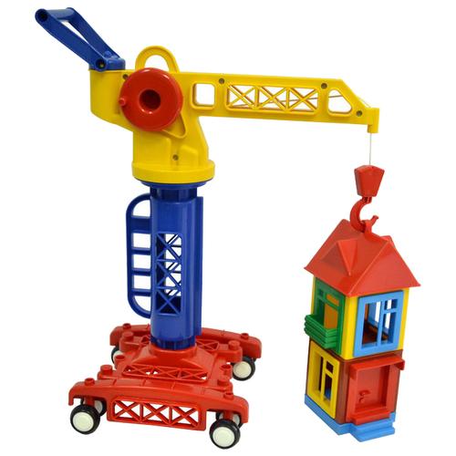 Купить Подъемный кран Форма Строим дом (С-186-Ф) 32 см красный/синий/белый/желтый, Машинки и техника
