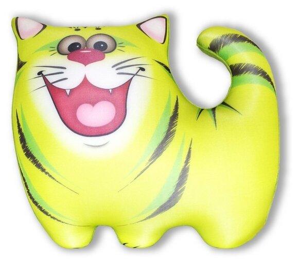 Купить Антистрессовая игрушка-подушка Штучки, к которым тянутся ручки Котик Полосатик, мини, зеленый по низкой цене с доставкой из Яндекс.Маркета (бывший Беру)