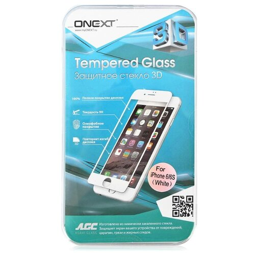Защитное стекло ONEXT 3D для Apple iPhone 6/6S белый аксессуар защитное стекло lg g6 onext 41268