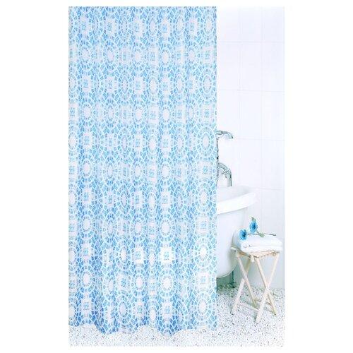 Штора для ванной Bath Plus Circle Light Blue 180х200 голубой мыльница bath plus bath plus mp002xu02qo3