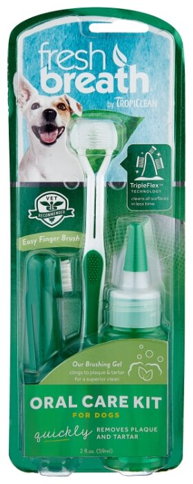 Комплект Tropiclean Fresh Breath для ухода за зубами для собак