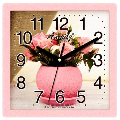 Часы настенные кварцевые Алмаз M46 розовый/бежевый часы настенные кварцевые алмаз c25 розовый бежевый