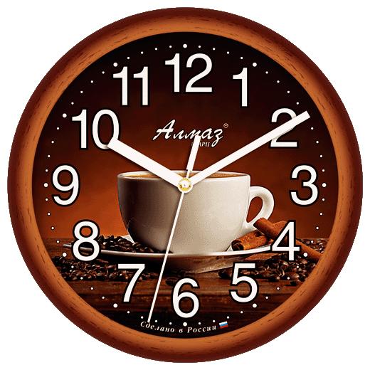 Часы настенные кварцевые Алмаз E06 коричневый