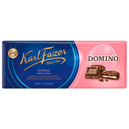 Шоколад Fazer молочный Domino с печеньем из какао и крошкой со вкусом ванили 30% какао, 195 г
