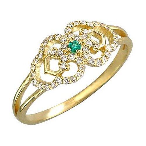 Эстет Кольцо с бриллиантами и изумрудом из жёлтого золота 01К637483-1, размер 17 ЭСТЕТ