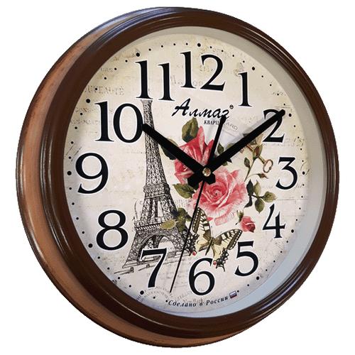 Часы настенные кварцевые Алмаз A06 коричневый/бежевыйЧасы настенные<br>