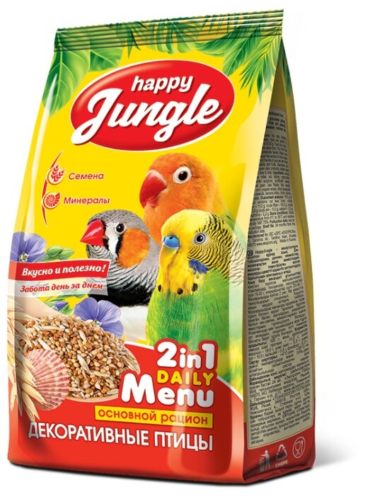 Корм сухой Happy Jungle для декоративных птиц, 350 г