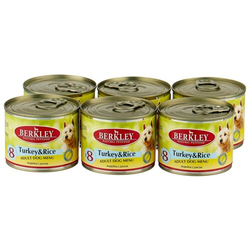 Фото - Влажный корм для собак Berkley (0.2 кг) 6 шт. Паштет для собак #8 Индейка с рисом 6шт. х 200г влажный корм для собак berkley 0 4 кг 6 шт паштет для собак оленина с коричневым рисом 6шт х 400г