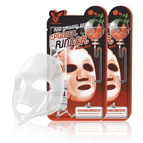 Elizavecca регенерирующая тканевая маска с экстрактом красного женьшеня Red Ginseng Deep Power Ringer Mask Pack, 23 мл, 2 шт.
