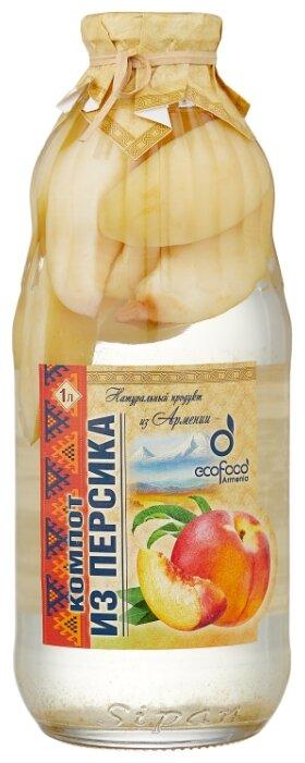 Компот Ecofood Armenia из персиков, стеклянная бутылка 1 л