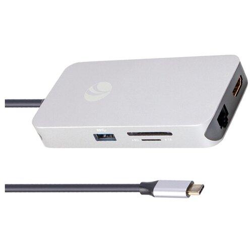 цена на USB-концентратор VCOM CU431M, разъемов: 7, серый