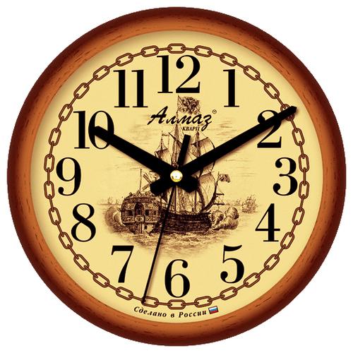 Часы настенные кварцевые Алмаз E14 коричневый/бежевый часы настенные кварцевые алмаз c04 c10 бежевый с рисунком белый