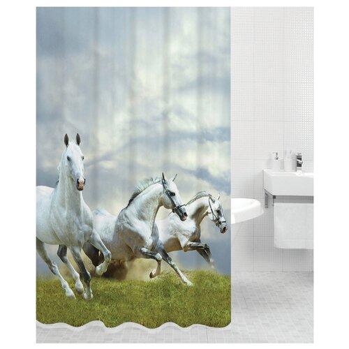 Штора для ванной Bath Plus Horse 180х200 зеленый/серый