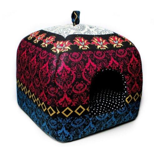 Домик для собак и кошек Родные места Избушка №2 Звезда Востока 45х45х53 см черный/розовый