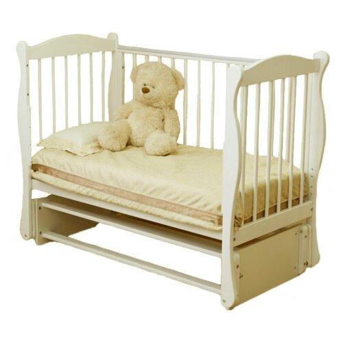 Купить Кроватка Красная Звезда Уралочка С744 (классическая), продольный маятник слоновая кость, Кроватки