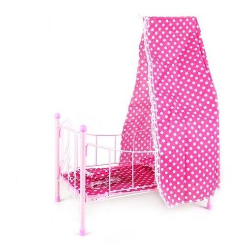 Наша игрушка Кроватка для куклы с балдахином Белый горошек (PH944) розовый игрушка