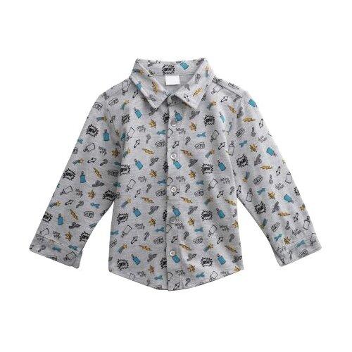 Рубашка playToday размер 92, серый толстовка playtoday размер 92 серый