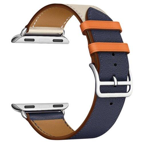 Купить Lyambda Кожаный ремешок Minkar для Apple Watch 42/44 mm indigo/cream/orange
