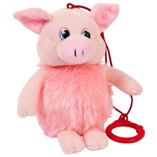 Мягкая игрушка ABtoys Свинка пушистая озвученная 16 см