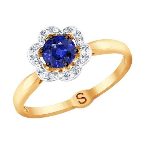 SOKOLOV Кольцо из золота с бриллиантами и сапфиром 2011080, размер 16.5