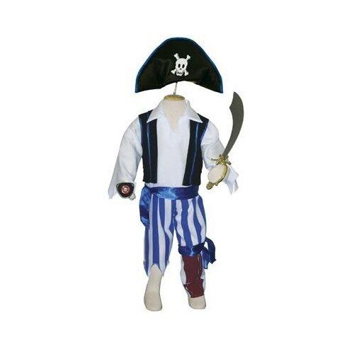 Костюм travis designs Одноногий пират, белый/синий/красный, размер 3-5 лет кроссовки мужские new balance 1500 цвет синий m1500ogn d 432 размер 10 5 43 5