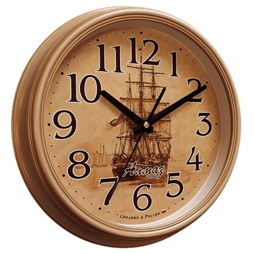 Часы настенные кварцевые Алмаз A44 бежевыйЧасы настенные<br>