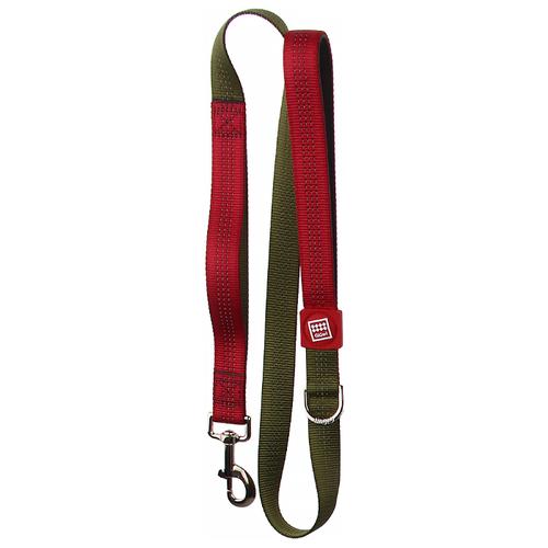 Поводок для собак GiGwi Classic Line XL зеленый/красный 1.2 м 25 мм поводок для собак gigwi classic line s фиолетовый 1 2 м 10 мм