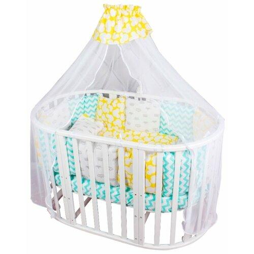 цена Amarobaby комплект в кроватку Happy baby (8 предметов) голубой/желтый онлайн в 2017 году