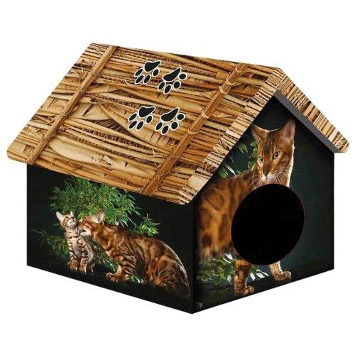 Домик для собак и кошек PerseiLine Бенгальский кот 33х33х40 см черный/коричневый
