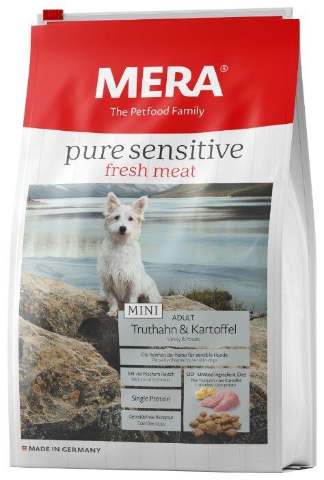 Корм для собак Mera (4 кг) Pure Sensitive Fresh Meat Mini с индейкой и картофелем для взрослых собак
