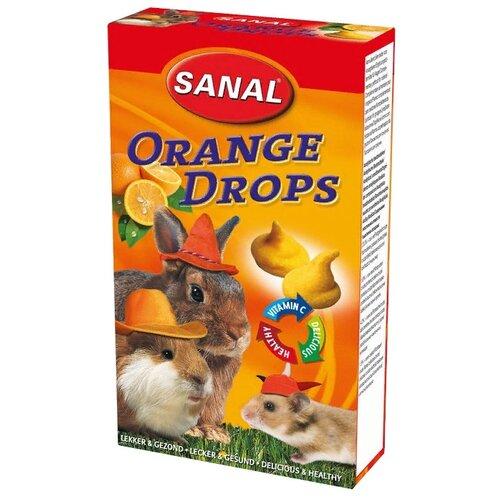 Лакомство для кроликов, грызунов SANAL Orange Drops с апельсином и витамином C 45 г