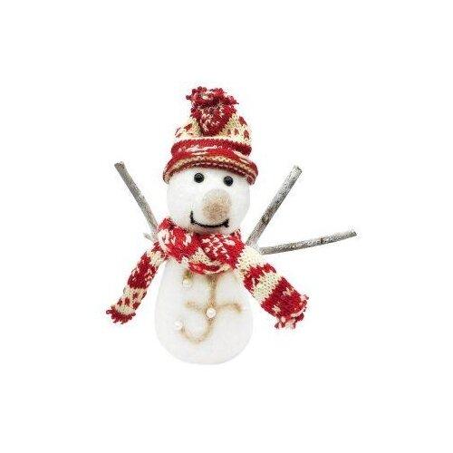 Фигурка Новогодняя Сказка Снеговик в красном 19 см (973169) белый/красный