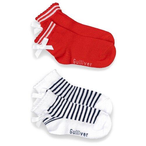 Купить Носки Gulliver Baby комплект из 2 пар, размер 12-14, красный/белый